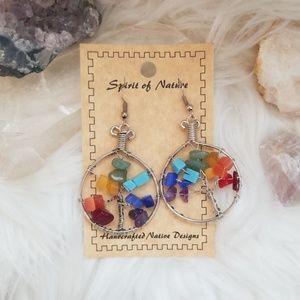 Boho Tree of Life Rainbow Earrings
